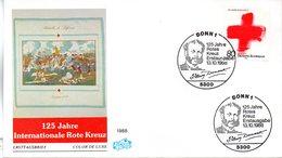 """BRD Schmuck-FDC """"125 Jahre Internationals Rotes Kreuz"""" Mi. 1387 ESSt 13.10.1988 BONN 1 - FDC: Covers"""