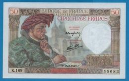 FRANCE 50 Francs 15.5.1942  ''Jacques Coeur''# K.169  55683 - 1871-1952 Antiguos Francos Circulantes En El XX Siglo