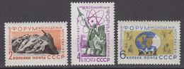 Russia, USSR25.07/28.09/25.10.1961 Mi # 2506, 2539, 2543 International Youth Forum, Moscow (I-III) MNH OG - Nuovi