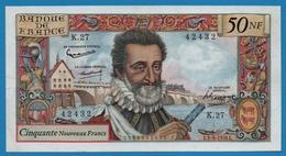 """FRANCE 50 Nouveaux Francs 3.9.1959 """"Henri IV"""" # K.27  42432 - 1959-1966 ''Nouveaux Francs''"""