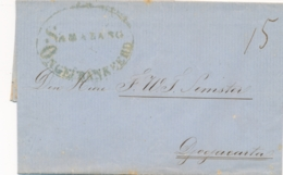 Nederlands Indië - 1857 - SAMARANG Ongefrankeerd Op Complete Vouwbrief Naar Djokjakarta - Port 15 Duiten - Indes Néerlandaises