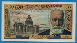 FRANCE 500 Francs 4.9.1958 ''Victor Hugo''# J.106  65221 - 1871-1952 Anciens Francs Circulés Au XXème