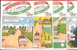 """Série Complète 8 Buvards CHOCOLAT L. SALAVIN - """"SPECIAL"""" & """"LACTO LEVURE""""  Code De La Route Illustré Par LUCIEN LOGE - Chocolat"""