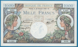 FRANCE 1000 Francs 24.10.1940 ALPHA E.321  986  ''Commerce & Industrie'' - 1871-1952 Antiguos Francos Circulantes En El XX Siglo