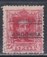 Andorre Espagnol N° 6A O Partie De Série : Timbres Surchargés : 25 C. Rouge Carminé Oblitération Faible Sinon TB - Andorre Espagnol