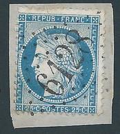 FRANCE - 1871 - Cérès Type I - YT N°60 A - 25 C. Bleu - Oblitéré GC 6128 BANNOGNE ET RECOUVRANCE (7) Ind 15 - TB Etat - 1871-1875 Cérès