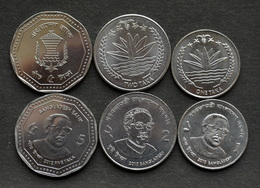 Bangladesh Bangladesch Münzen Set Of 3 Coins 1+2+5 Taka UNC Währung Asien - Bangladesh