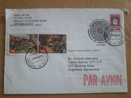 Enveloppe Ukrainienne Envoyée En Argentine Avec Des Timbres De Serpent - Snakes