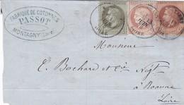 N° 25 N° 26 N° 51 S / Devant D' Imp T.P. Ob T 18 Montagny Loire 13 Juin 78, Imp Pour Roanne - 1849-1876: Classic Period