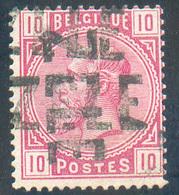 N°38 - 10 Cetnimes Rose Annulé Par La Griffe Croisée De ZELE.  RR - - 15323 - 1883 Leopold II