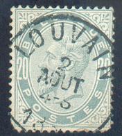 N°39 - 20 Centimes Gris Perle, Obl. Sc LOUVAIN 2 Août 1884  - - 15324 - 1883 Leopold II