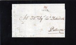 CG25 - Lett. Da Lesa X Pallanza 6/7/1840 - Bollo Lineare Diritto Nero Mm. 16 Tipo 2° + P.P. Rosso - Italia