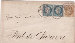 """N° 28 N° 37 X 2 S / L """" Manuscrit Papiers D' Affaires """" T.P. Ob T 17 Vienne 17 Juin 71 Pour Pont De Cheroy - Postmark Collection (Covers)"""