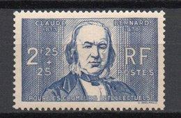 - FRANCE N° 439 Neuf ** MNH - 2 F. 25 + 25 C. Outremer Claude Bernard 1939 - Cote 32 EUR - - France