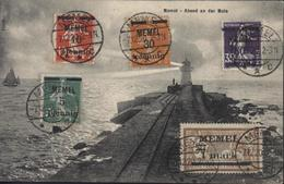 YT 18 19 21 23 26 CAD Memel C  7 12 20  2-3N CPA Memel Abend An Der Mole - Used Stamps