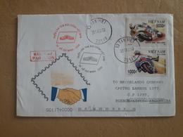 Enveloppe Du Vietnam Envoyée En Argentine Avec Des Timbres De Moto - Motorbikes
