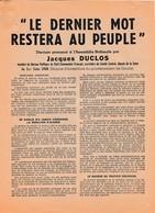1958 - Première Investiture Du Gouvernement De GAULLE - TRACT COMMUNISTE - DISCOURS De Jacques DUCLOS à - Documents Historiques