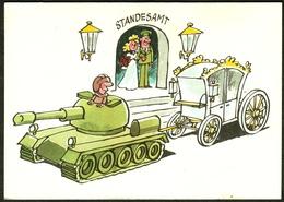 """DDR 1980 Militärhandelsorganisation """" Seltene NVA-Juxkarte Hochzeit Mit Panzer """" Ostalgie - Humoristiques"""