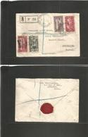 LEBANON. 1935 (22 Jan) Beyrouth Canon St. - UK, Porthsmouth. Registered Multifkd Air Envelope. Fine. Occasion! - Libano