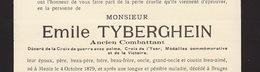 Faire Part De Décès Emile Tyberghien Ancien Combattant Menin Bruges - Obituary Notices