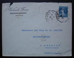 Beauvoir Sur Niort (Deux Sèvres) 1926 Brillault Frères, Convoyeur Saintes à Niort, Pour Amboise - Marcophilie (Lettres)