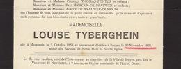 Faire Part De Décès Louise Tyberghien Moorsele - Avvisi Di Necrologio