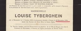 Faire Part De Décès Louise Tyberghien Moorsele - Overlijden