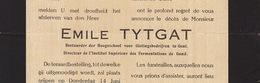 Faire Part De Décès Emile Tytgat Brasseur Brasserie - Avvisi Di Necrologio