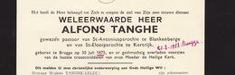 Faire Part De Décès Alfons Tanghe Pasteur Curé Blankenbere Courtrai - Overlijden