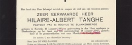 Faire Part De Décès Hilaire Tanghe Curé Pasteur Pastoor Blankenberge Courtrai - Overlijden