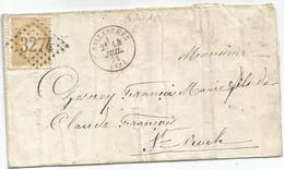 HAUTE SAVOIE CERES 15C LETTRE TYPE  SALLANCHES 14 JUIL 1874 POUR ST ROCH - 1849-1876: Classic Period