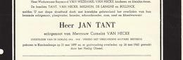 Faire Part De Décès Jan Tant Van Hecke Ancien Combattant Blankenberge Oliesel - Overlijden
