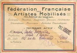 180320D - GUERRE 1914 18 Militaria CARTE De Membre FEDERATION FRANCAISE ARTISTES MOBILISES 153 Av De Wagram - Cartes
