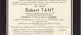Faire Part De Décès Robert Tant Ancien Combattant Langbeen Blankenberge - Annotations Généalogiques Au Dos - Overlijden