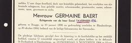 Faire Part De Décès Germaine Baert Tavernier Bruges Blankenberge - Annotations Généalogiques Au Dos - Todesanzeige