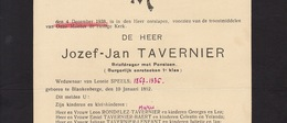 Faire Part De Décès Josef Tavernier Speels Blankenberge - Obituary Notices
