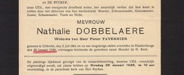 Faire Part De Décès Nathalie Dobbelaere Tavernier Uitkerke Blankenberge - Annotations Généalogiques Au Dos - Overlijden