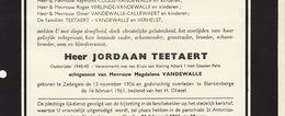 Faire Part De Décès Jordaan Teetaert Vandewalle Zedelgem Blankenberge - Annotations Généalogiques Au Dos - Overlijden