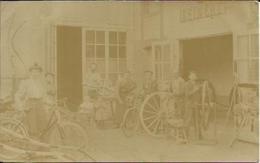 """PONTFAVERGER Carte Photo Animée , 1906 , Atelier """" REINERT """"  Fabrication De Roues - Autres Communes"""