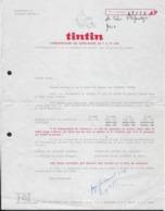 "LETTRE "" TINTIN "" * BRIEF "" KUIFJE "" * 1972 * TARIFS L HEBDOMADAIRE * TARIEVEN WEEKBLAD - Bélgica"