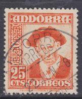 Andorre Espagnol N° 44 O Partie De Série : 25 C.jaune-orange Oblitéré, TB - Andorre Espagnol
