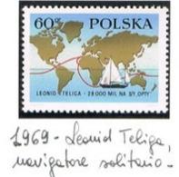 "POLONIA (POLAND) - SG 1904  - 1969  LEONID TELIGA VOYAGE IN YACHT ""OPTY""     - MINT** - RIF. CP - 1944-.... Repubblica"
