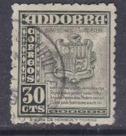 Andorre Espagnol N° 45 O Partie De Série :30 C. Vert-gris,  Oblitéré Sinon TB - Andorre Espagnol