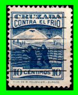 ESPAÑA AÑO 1937 GUERRA CIVIL ESPAÑOLA CRUZADA CONTRA EL FRIO. VIÑETA/CENTIMOS AZUL - 1931-50 Usados