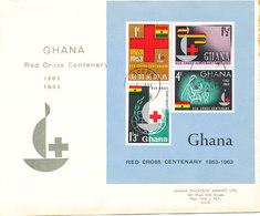 Ghana FDC 1-8-1963 RED CROSS Souvenir Sheet With Cachet - Ghana (1957-...)