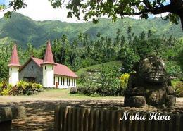 Marquesas Islands Nuku Hiva Church New Postcard Französisch Polynesien AK - Polynésie Française