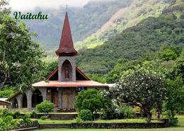 Marquesas Islands Tahuata Vaitahu Church View New Postcard Französisch Polynesien AK - Polynésie Française