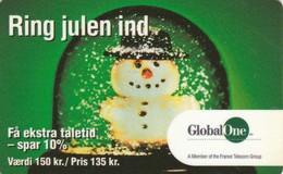 Denmark, DEN-PRE-GO-12, 150 Kr., Ring Julen Ind - Snowman, Christmas, 2 Scans.  Expiry : 06 /  2003 - Christmas