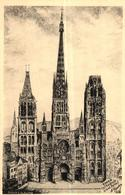 ROUEN -76- CATHEDRALE GRAND PORTAIL - DESSIN A LA PLUME - Rouen