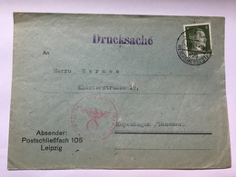 GERMANY 1941 Cover Leipzig To Kopenhagen With Censor Eagle Plus Drucksache Cachet Tied With Hitler 5 Pf - Germany